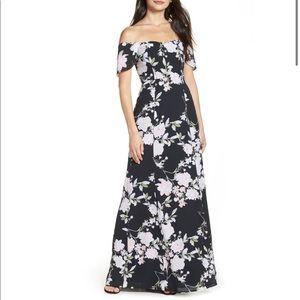 Wayf Rachel Off the Shoulder Gored Maxi Dress